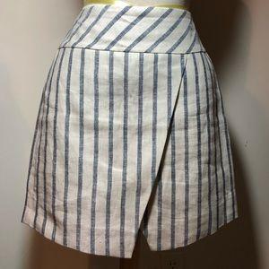 J Crew linen stripe skirt faux wrap lined size 2